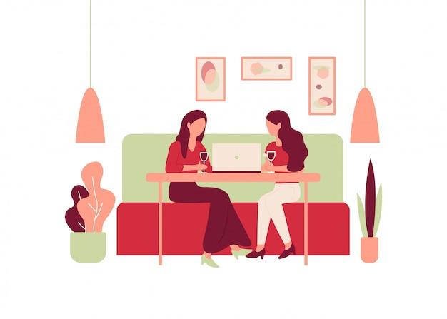 Cartoon vrouw zit sofa restaurant tafel drinken wijn