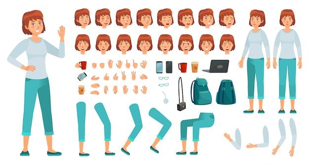 Cartoon vrouwelijk personage kit. stad in casual kleding vrouw creatie constructor, verschillende handen, benen en lichaam vormt vector set