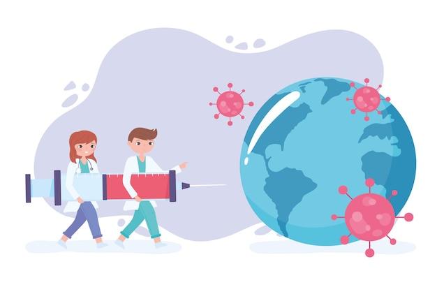 Cartoon vrouwelijke en mannelijke artsen met spuit met covid-vaccin