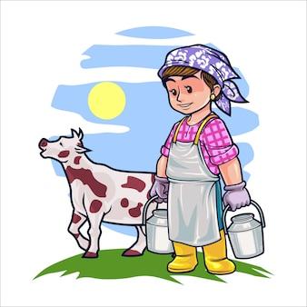 Cartoon vrouwelijke fokker of boer