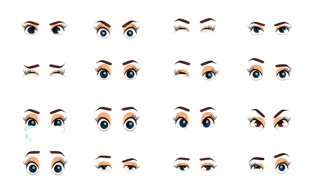 Cartoon vrouwelijke ogen illustratie gekleurde vector close-up ogen