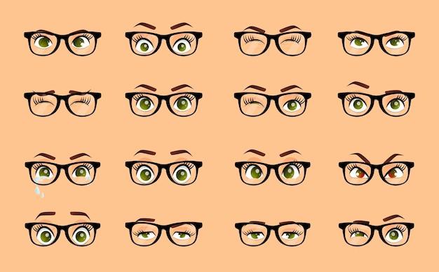 Cartoon vrouwelijke ogen illustratie set emoties ogen
