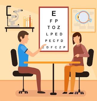 Cartoon vrouwelijke patiënt met oogarts consultatie