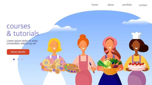 Cartoon vrouwen verschillende beroepen en hobby's sjabloon voor de bestemmingspagina