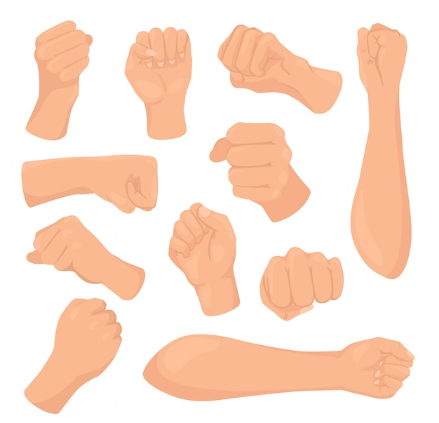 Cartoon vuist illustraties, vrouw hand met gebalde palm, verhoogde vrouwelijke hand geïsoleerde iconen set