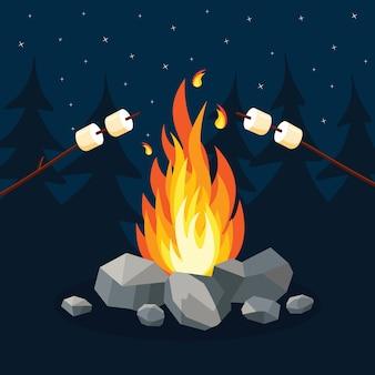 Cartoon vuur vlammen, vreugdevuur, kampvuur op achtergrond.