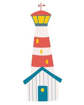 Cartoon vuurtoren. nautische vuurtoren zee navigatie baken geïsoleerde marine begeleidingsapparatuur. kwekerij kunst. baken logo icoon. vectorillustratie.