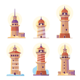 Cartoon vuurtoren set
