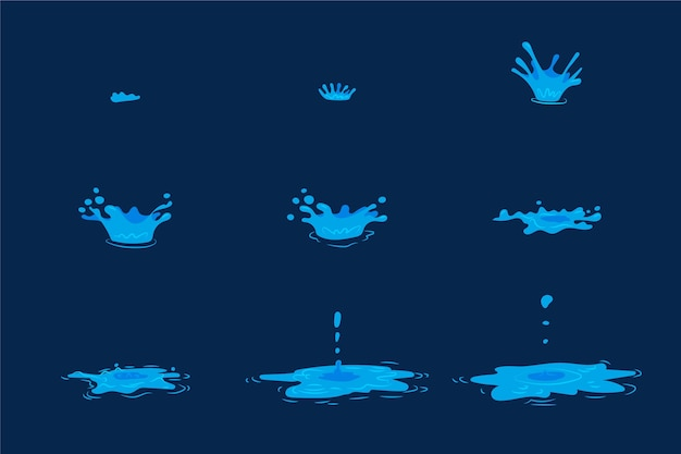 Cartoon water element animatieframes