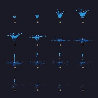 Cartoon water splash met druppels fx animatie frames sprite vel.