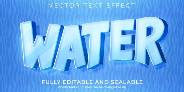 Cartoon water teksteffect bewerkbare komische en grappige tekststijl