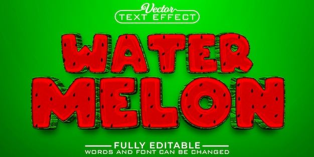 Cartoon watermeloen bewerkbare teksteffectsjabloon