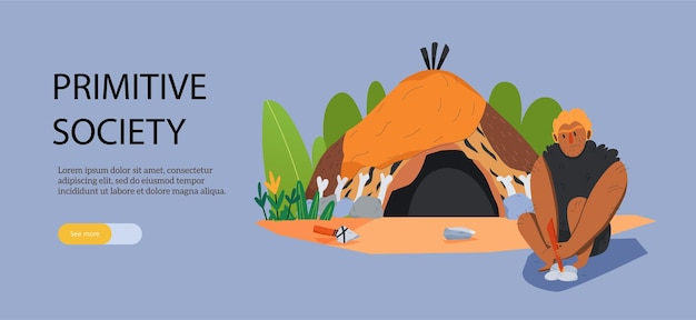 Cartoon webbanner met primitieve man zit in de buurt van zijn huis