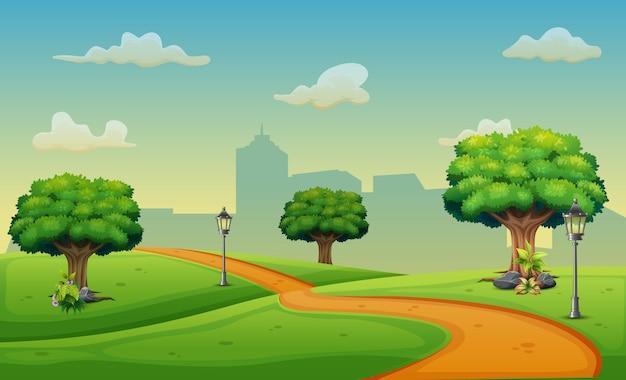 Cartoon weergave van de weg naar de stad