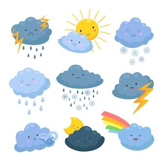 Cartoon weerwolken. regen, sneeuwelementen. hemelse bewolkte vormen, storm en bliksem, zon en maan. meteorologische voorspelling vector set. illustratie regen en sneeuw, storm en wind