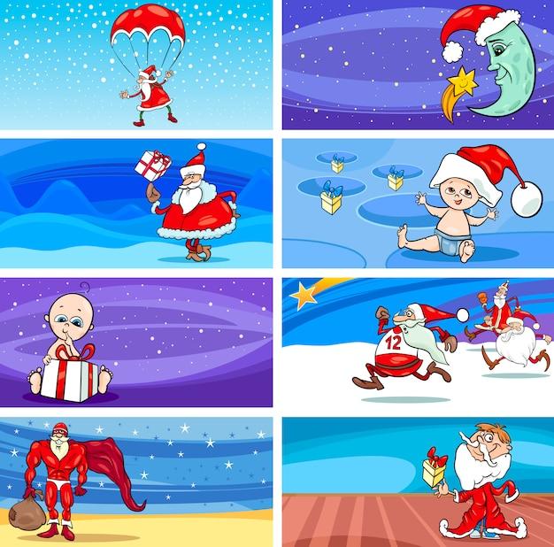 Cartoon wenskaarten met de kerstman