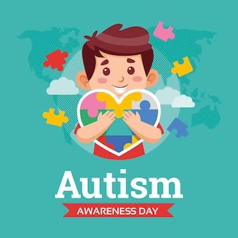 Cartoon wereld autisme dag bewustzijn illustratie