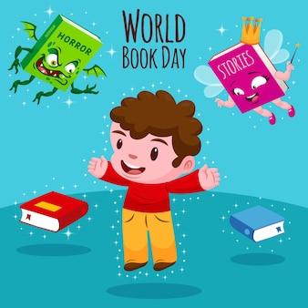 Cartoon wereld dagboekillustratie met man