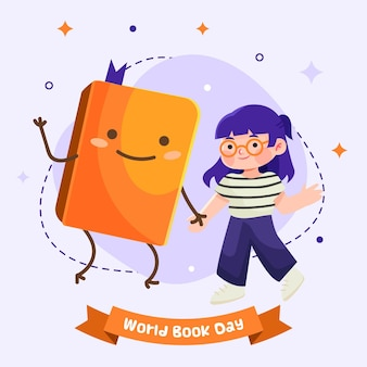Cartoon wereld dagboekillustratie met vrouw en boek