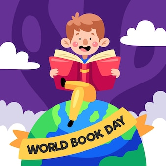 Cartoon wereld dagboekillustratie