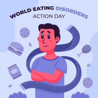 Cartoon wereld eetstoornissen actiedag illustratie