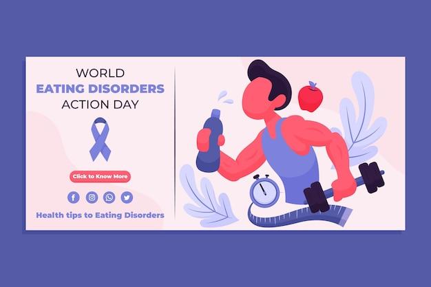 Cartoon wereld eetstoornissen actiedag sjabloon voor spandoek