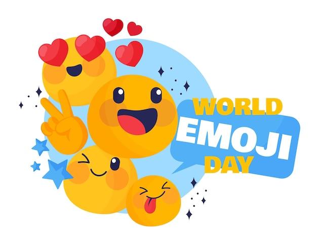 Cartoon wereld emoji dag illustratie
