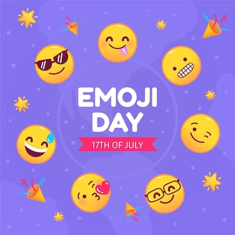 Cartoon wereld emoji dag illustratie Gratis Vector
