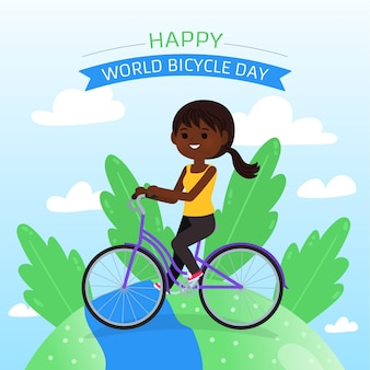 Cartoon wereld fiets dag illustratie