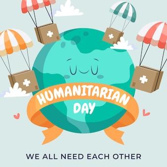 Cartoon wereld humanitaire dag illustratie Gratis Vector