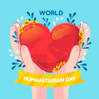 Cartoon wereld humanitaire dag illustratie