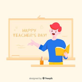 Cartoon wereld leraar dag achtergrond