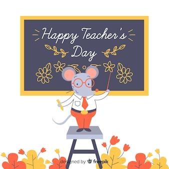 Cartoon wereld lerarendag met muis als leraar