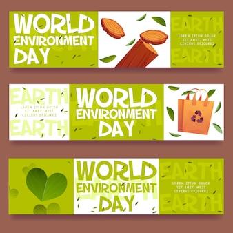 Cartoon wereld milieu dag sjabloon voor spandoek
