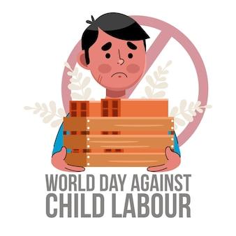Cartoon werelddag tegen illustratie van kinderarbeid