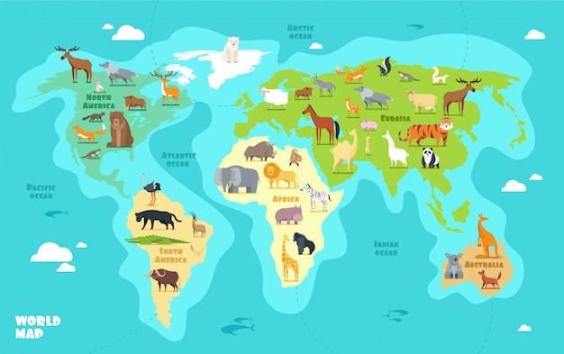Cartoon wereldkaart met dieren, oceanen en continenten.