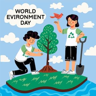 Cartoon wereldmilieu dag bewaar de planeet illustratie