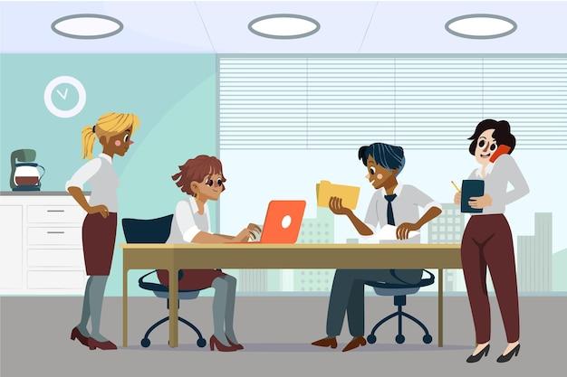 Cartoon werkdag scène