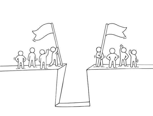 Cartoon werkende kleine mensen in de buurt van afgrond illustratie