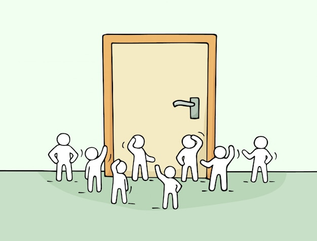 Cartoon werkende kleine mensen met grote deur. doodle schattige miniatuurscène van werknemers over kansen.