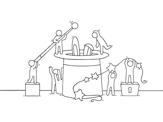 Cartoon werkende kleine mensen met magische symbolen. hand getekend cartoon afbeelding voor illusie ontwerp.