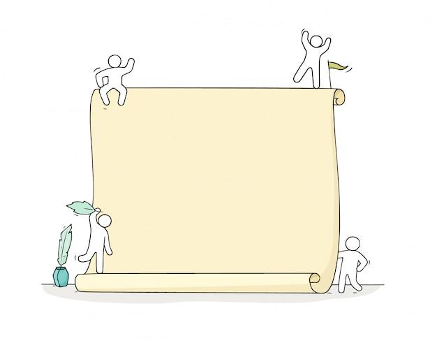 Cartoon werkende kleine mensen met papier