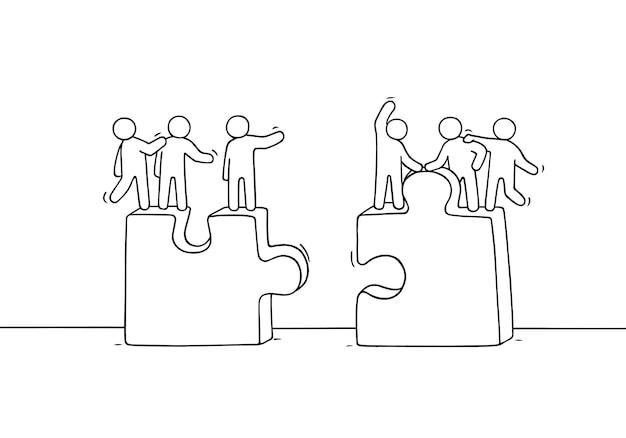 Cartoon werkende kleine mensen met puzzels. doodle schattige miniatuurscène van twee teams. hand getrokken illustratie voor zakelijke en sociale vormgeving.