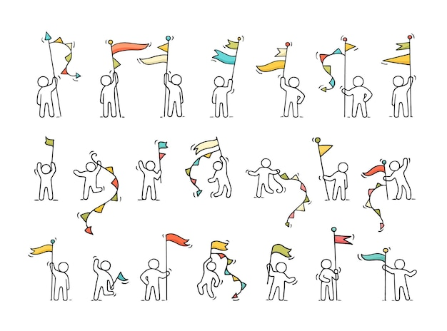 Cartoon werkende kleine mensen met symbolen
