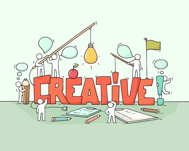 Cartoon werkende kleine mensen met woord creatieve illustratie