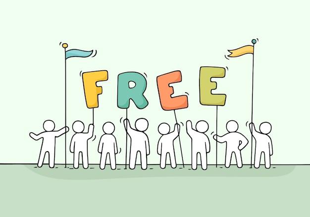Cartoon werkende kleine mensen met woord gratis. doodle schattige miniatuurscène van arbeiders houdt letters vast. hand getekend cartoon afbeelding