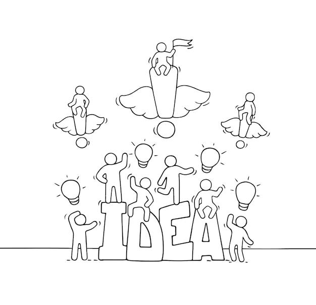 Cartoon werkende kleine mensen met woord idee. hand getekend cartoon afbeelding