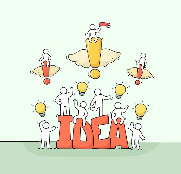 Cartoon werkende kleine mensen met woord idee. hand getekende cartoon