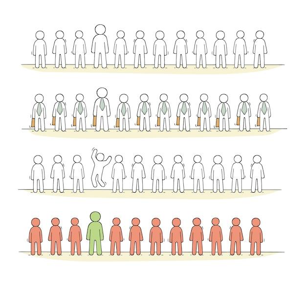 Cartoon werkende kleine mensen staan in een rij. doodle schattige miniatuurscène van arbeiders over partnerschap. hand getekend