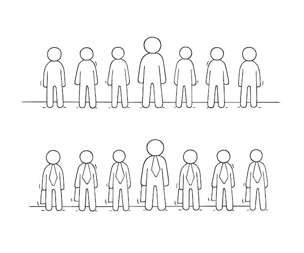 Cartoon werkende kleine mensen staan in een rij.